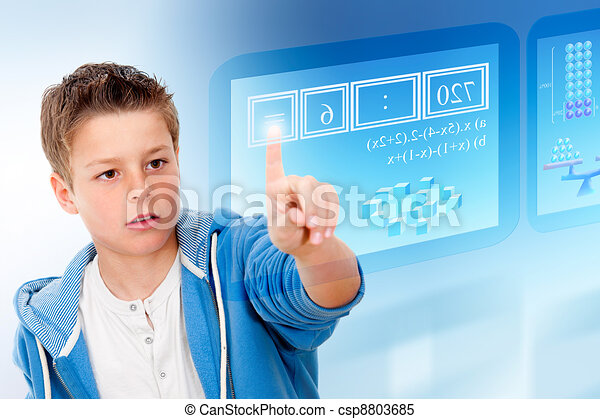Young student with virtual futuristic interface. - csp8803685