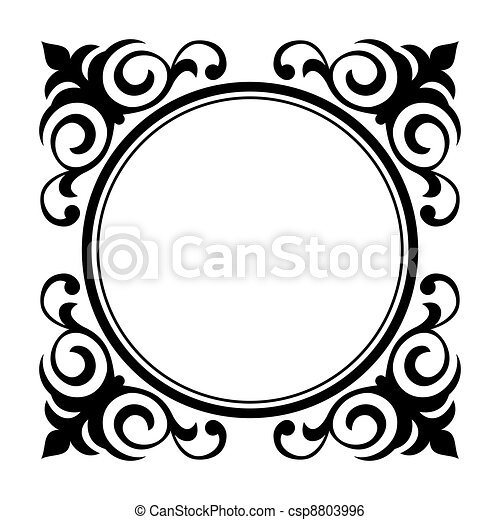 circle ornamental decorative frame - csp8803996