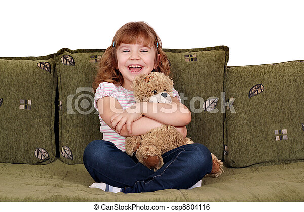 happy little girl with teddy-bear - csp8804116