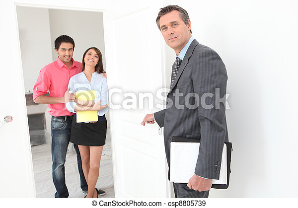 Couple eagerly waiting to sign a contract - csp8805739