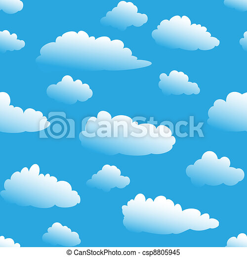 Seamless fluffy cloudy background - csp8805945