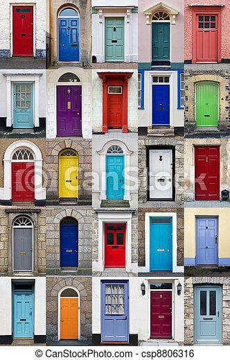 Vertical photo collage of 25 front doors  - csp8806316