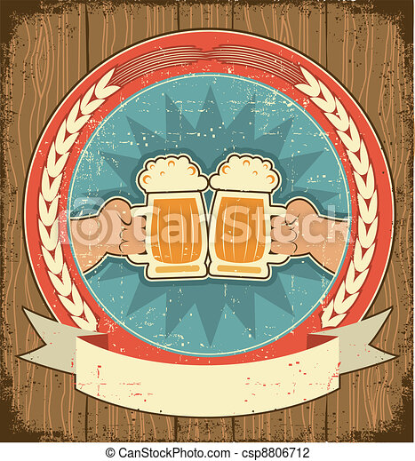 Beer label set on old paper texture.Vintage background with man hands - csp8806712