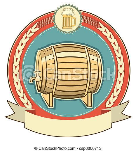 Barrel of beer label set on white background - csp8806713