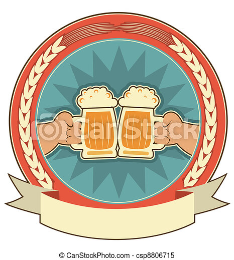 Beers label background with man hands on white  - csp8806715