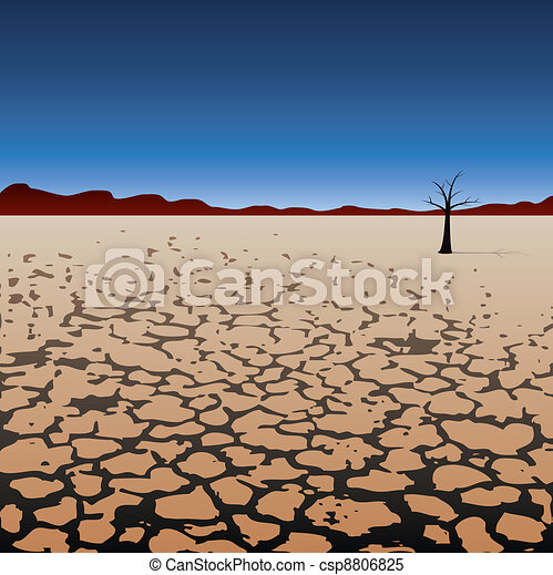 vector lonely tree in dry desert  - csp8806825