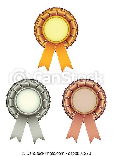 vector gold silver bronze award ribbons bow - csp8807270