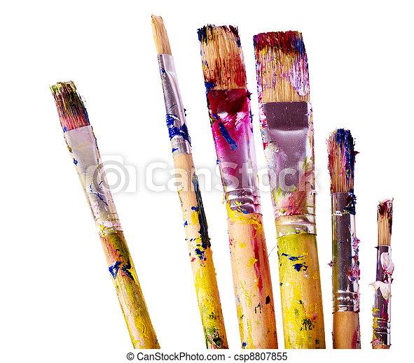 Close up of art utensils. - csp8807855