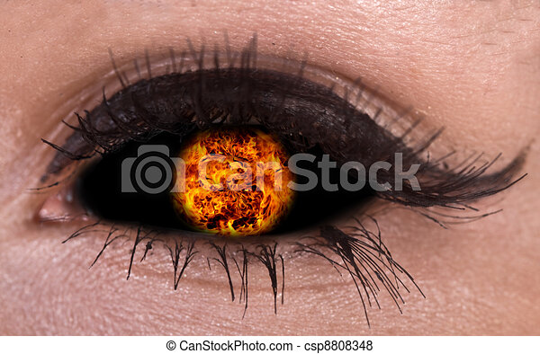 Illustration of magic eye with fire ball. - csp8808348