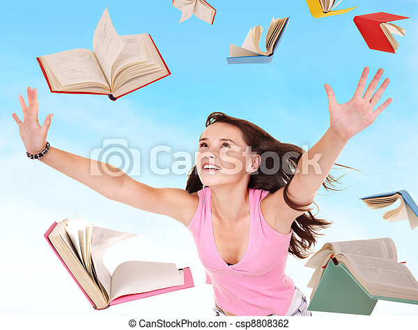 Student girl holding pile of books.  - csp8808362