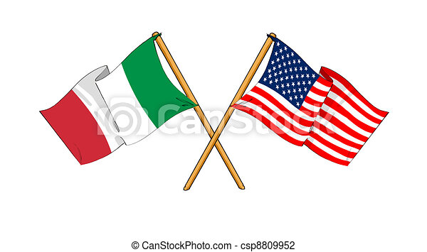 America and Italy alliance and friendship - csp8809952
