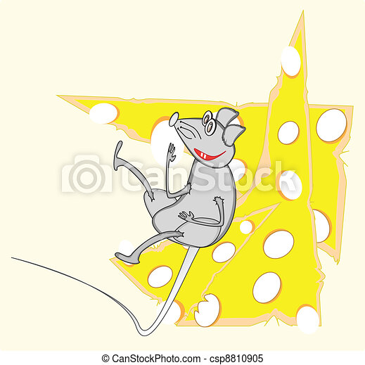 replete grey rat on cheese - csp8810905