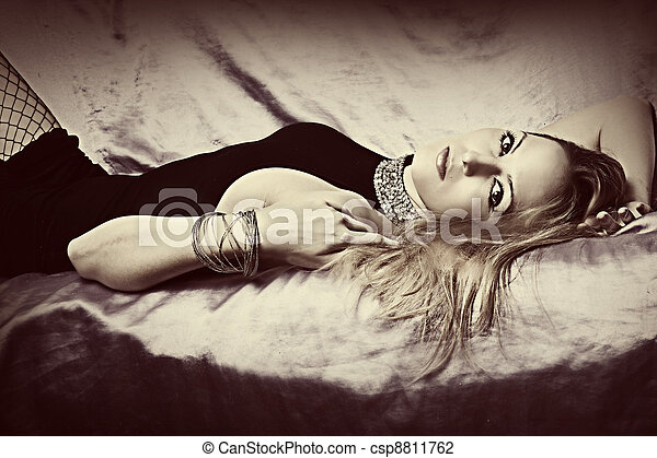 Glamour blond woman - csp8811762
