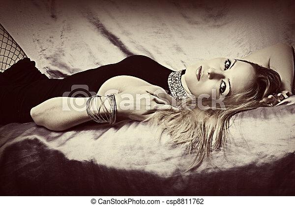 Glamour blond woman - csp8811762