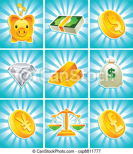 Gold Money Icons - csp8811777