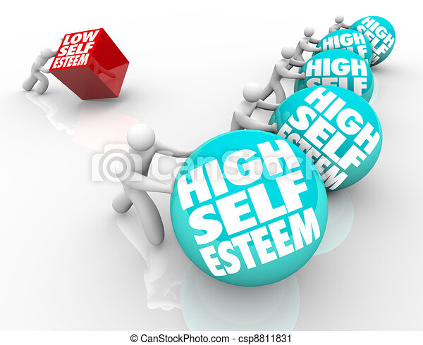 High Vs Low Self Esteem Losing Race of Confidence Attitude - csp8811831