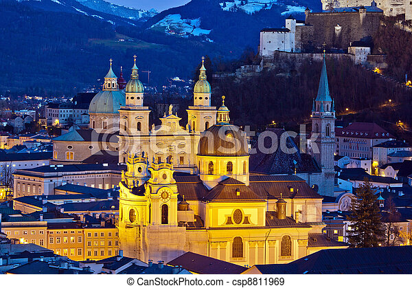 a city view of the city of salzburg in austria .. city and fortress hohensalzburg - csp8811969
