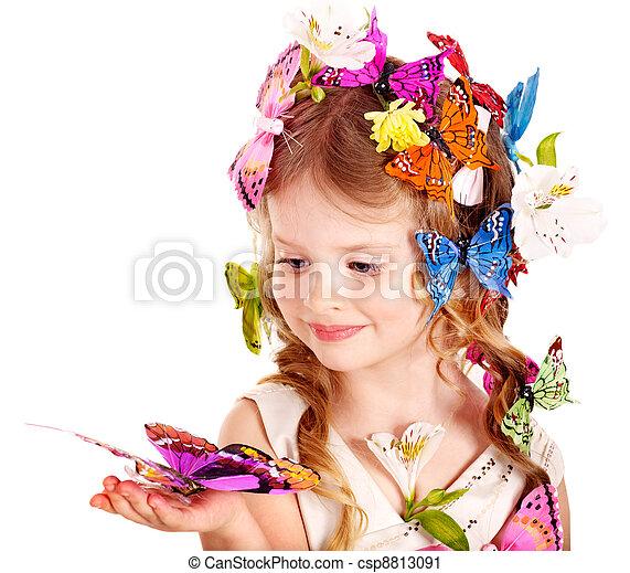 春, ヘアスタイル, butterfly., 子供 - csp8813091