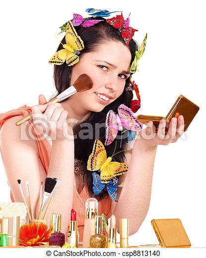 女の子, 適用, makeup. - csp8813140