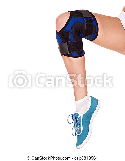 Trauma of knee in brace. - csp8813561