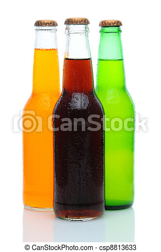 Three Assorted Soda Bottles on White - csp8813633