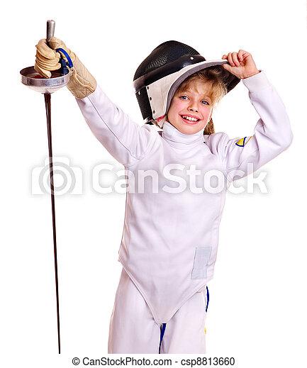 フェンシング,  Epee, 衣装, 保有物, 子供 - csp8813660