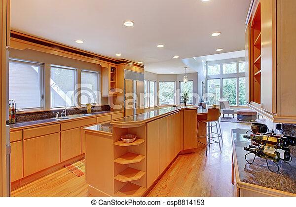 Photos de grand luxe moderne bois cuisine granit for Cuisine luxe bois