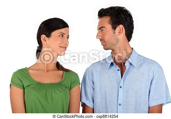 Couple making eye contact - csp8814254