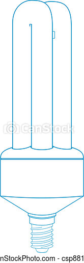 Energy Saving Light Bulb - Technical Illustration - csp8814901