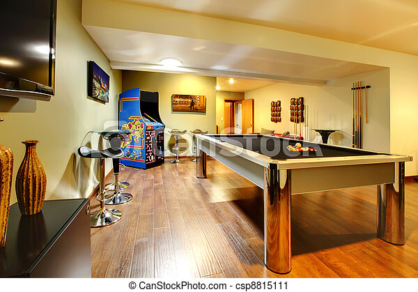Play party room home interior with pool table. - csp8815111