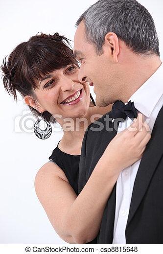 portrait of a couple in smart clothes - csp8815648