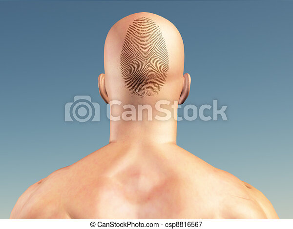 Man with fingerprint on head - csp8816567