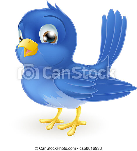Cute cartoon bluebird - csp8816938