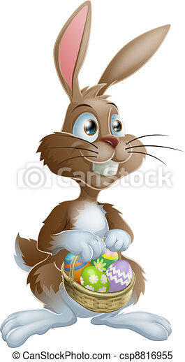 Easter bunny rabbit holding Easter - csp8816955