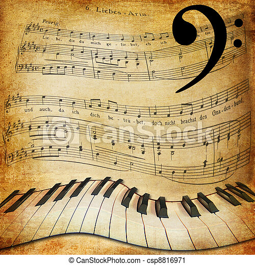 warped piano and music sheet background - csp8816971