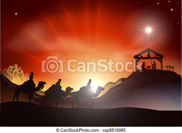 Traditional Christmas Nativity Scen - csp8816985