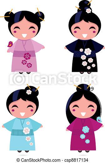 Cute Geisha set isolated on white - csp8817134