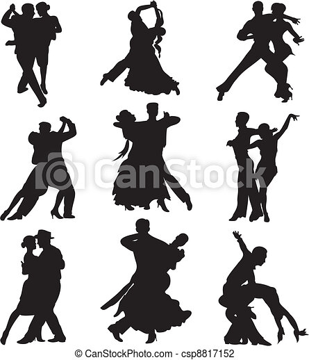 ballroom dancing - silhouette - csp8817152