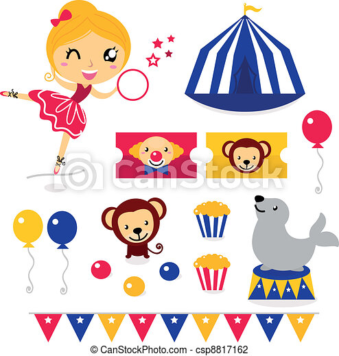 Fun circus icons and elements set isolated on white - csp8817162
