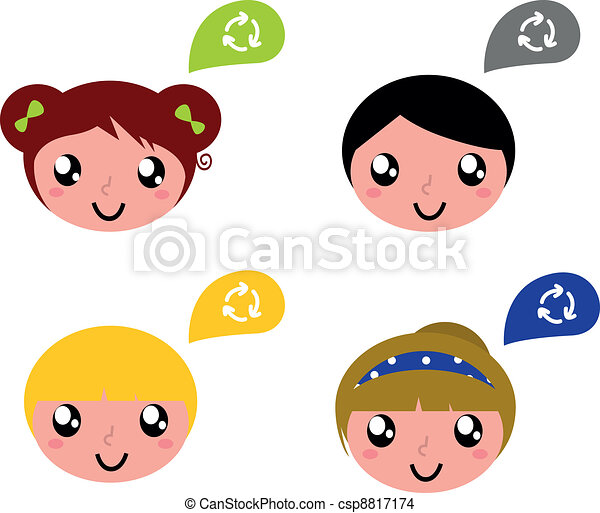 Cute recycle kids with speech bubbles set - csp8817174