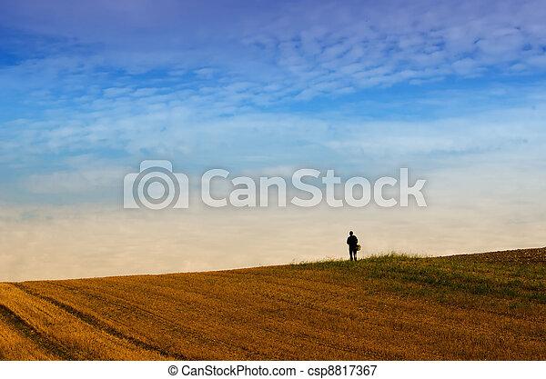 the walker alone in the fields - csp8817367