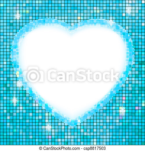 Blue frame in the shape of heart. EPS 8 - csp8817503
