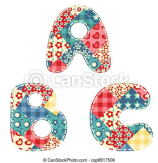 Quilt alphabet. - csp8817506