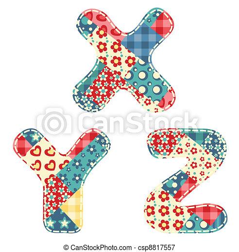 Quilt alphabet. - csp8817557