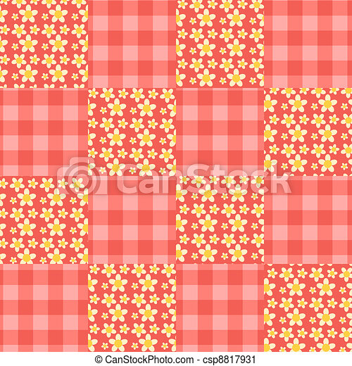 Seamless patchwork pattern red. - csp8817931