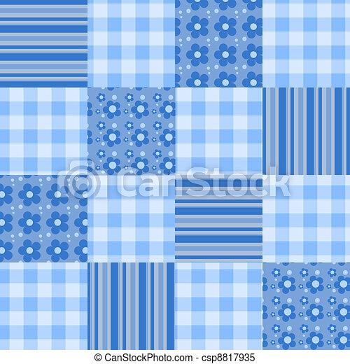 Seamless patchwork pattern blue. - csp8817935