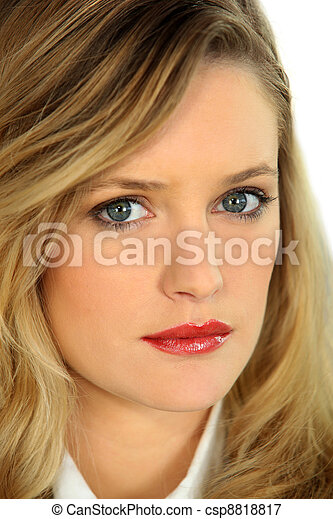 Portrait of blonde woman - csp8818817