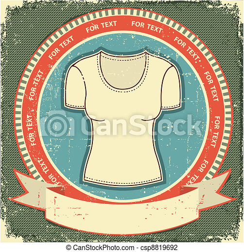 Clothes label set on vintage old paper.Vector t-shirt background - csp8819692