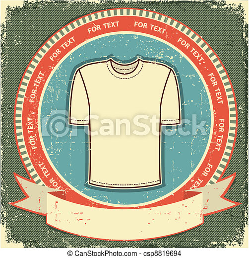 Clothes label set on vintage old paper.Vector t-shirt background - csp8819694