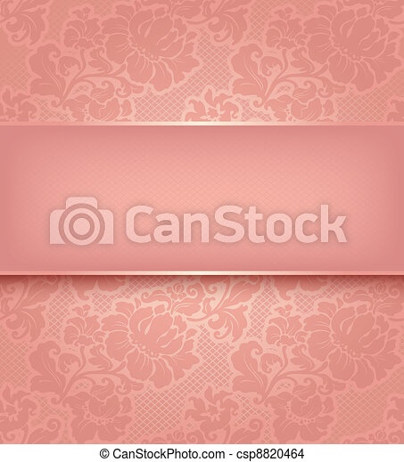 Lace background, ornamental pink flowers wallpaper. - csp8820464